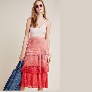 new Anthropologie Brighton Tiered Midi Skirt
